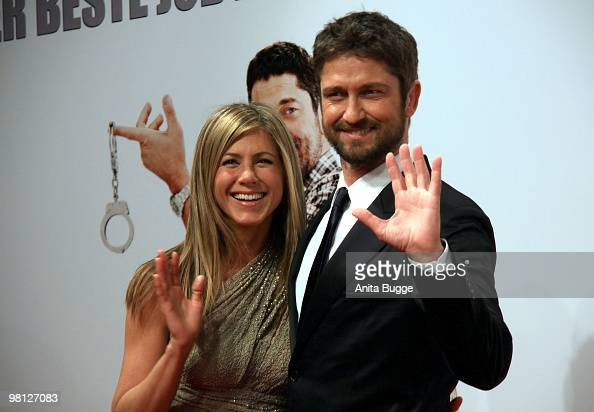 Actress Jennifer Aniston and actor Gerard Butlerattend the premiere of 'Der KautionsCop' Germany Premiere at the Cinemaxx movie theater on March 29...