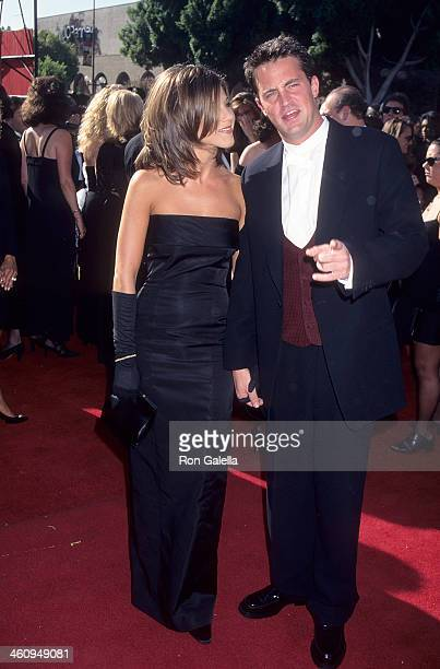 Actress Jennifer Aniston and actor Matthew Perry attend the 47th Annual Primetime Emmy Awards on September 9 1995 at the Pasadena Civic Auditorium in...