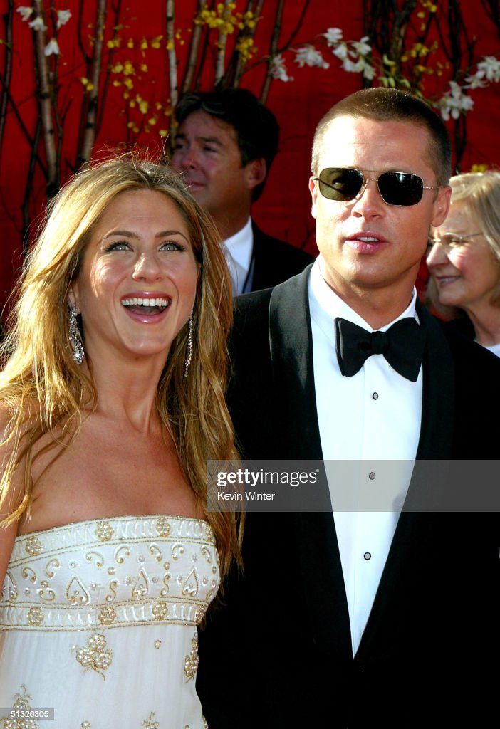 Actress <a gi-track='captionPersonalityLinkClicked' href=/galleries/search?phrase=Jennifer+Aniston&family=editorial&specificpeople=202048 ng-click='$event.stopPropagation()'>Jennifer Aniston</a> and Actor/husband <a gi-track='captionPersonalityLinkClicked' href=/galleries/search?phrase=Brad+Pitt+-+Actor&family=editorial&specificpeople=201682 ng-click='$event.stopPropagation()'>Brad Pitt</a> attend the 56th Annual Primetime Emmy Awards on September 19, 2004 at the Shrine Auditorium, in Los Angeles, California.