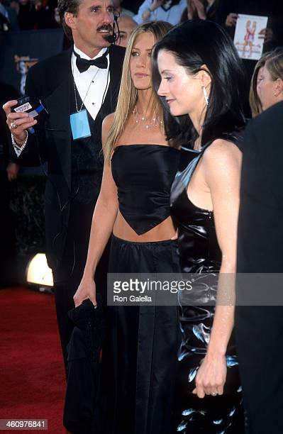 Actress Jennifer Aniston and actress Courteney Cox attend the Fifth Annual Screen Actors Guild Awards on March 7 1999 at the Shrine Auditorium in Los...
