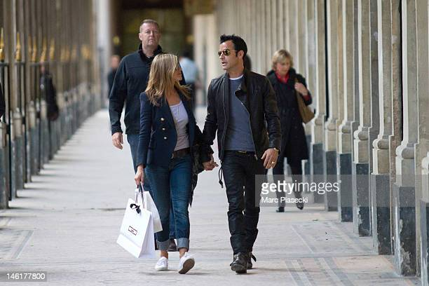 Actress Jennifer Aniston and boyfriend Justin Theroux are seen at the 'Palais Royal' gardens on June 11 2012 in Paris France