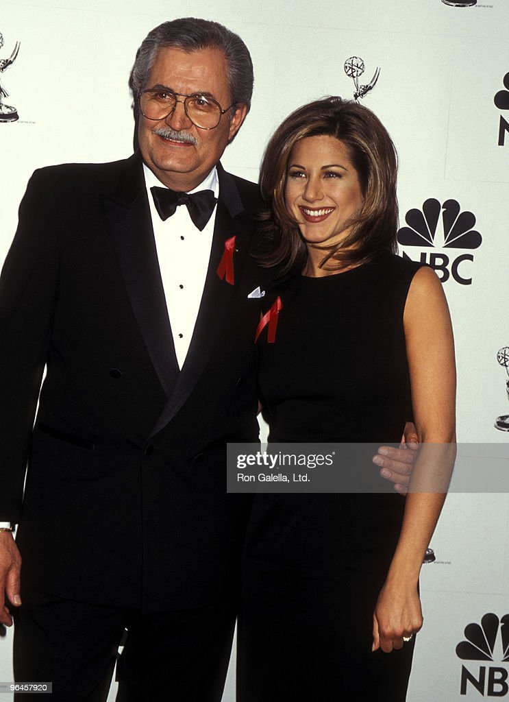 Actress Jennifer Aniston and father actor John Aniston attend the 22nd Annual Daytime Emmy Awards on May 19, 1995 at Marriott Marquis Hotel in New York City.