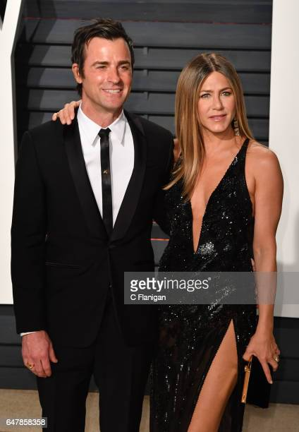 Actress Jennifer Aniston and Justin Theroux attend the 2017 Vanity Fair Oscar Party hosted by Graydon Carter at Wallis Annenberg Center for the...