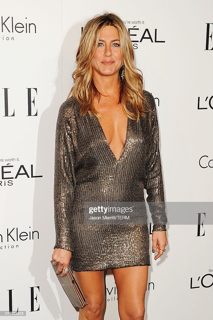 Actress <a gi-track='captionPersonalityLinkClicked' href=/galleries/search?phrase=Jennifer+Aniston&family=editorial&specificpeople=202048 ng-click='$event.stopPropagation()'>Jennifer Aniston</a> arrives at ELLE's 18th Annual Women in Hollywood Tribute held at the Four Seasons Hotel on October 17, 2011 in Los Angeles, California.
