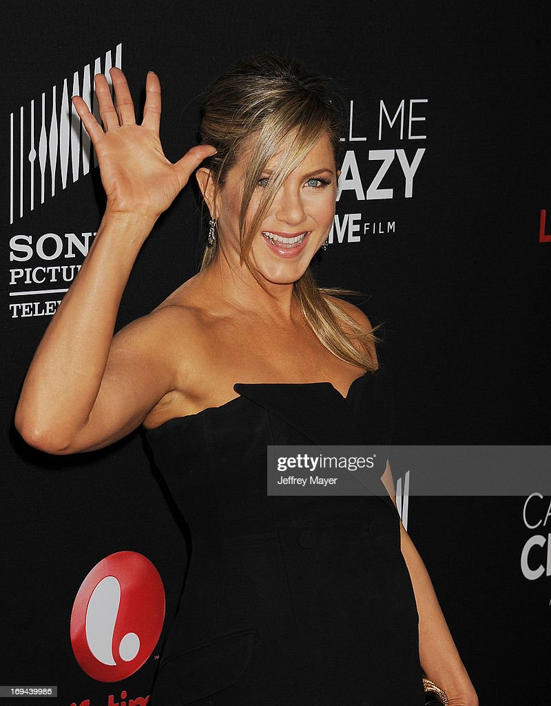 Actress <a gi-track='captionPersonalityLinkClicked' href=/galleries/search?phrase=Jennifer+Aniston&family=editorial&specificpeople=202048 ng-click='$event.stopPropagation()'>Jennifer Aniston</a> arrives at the Lifetime movie premiere of 'Call Me Crazy: A Five Film' at Pacific Design Center on April 16, 2013 in West Hollywood, California.