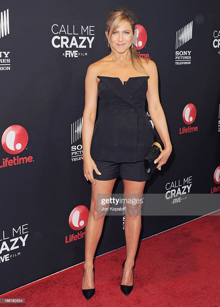 Actress <a gi-track='captionPersonalityLinkClicked' href=/galleries/search?phrase=Jennifer+Aniston&family=editorial&specificpeople=202048 ng-click='$event.stopPropagation()'>Jennifer Aniston</a> arrives at the Los Angeles Premiere 'Call Me Crazy: A Five Film' at Pacific Design Center on April 16, 2013 in West Hollywood, California.
