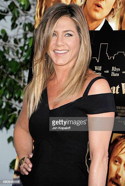 Actress Jennifer Aniston arrives at the Los Angeles Premiere 'She's Funny That Way' at Harmony Gold on August 19 2015 in Los Angeles California