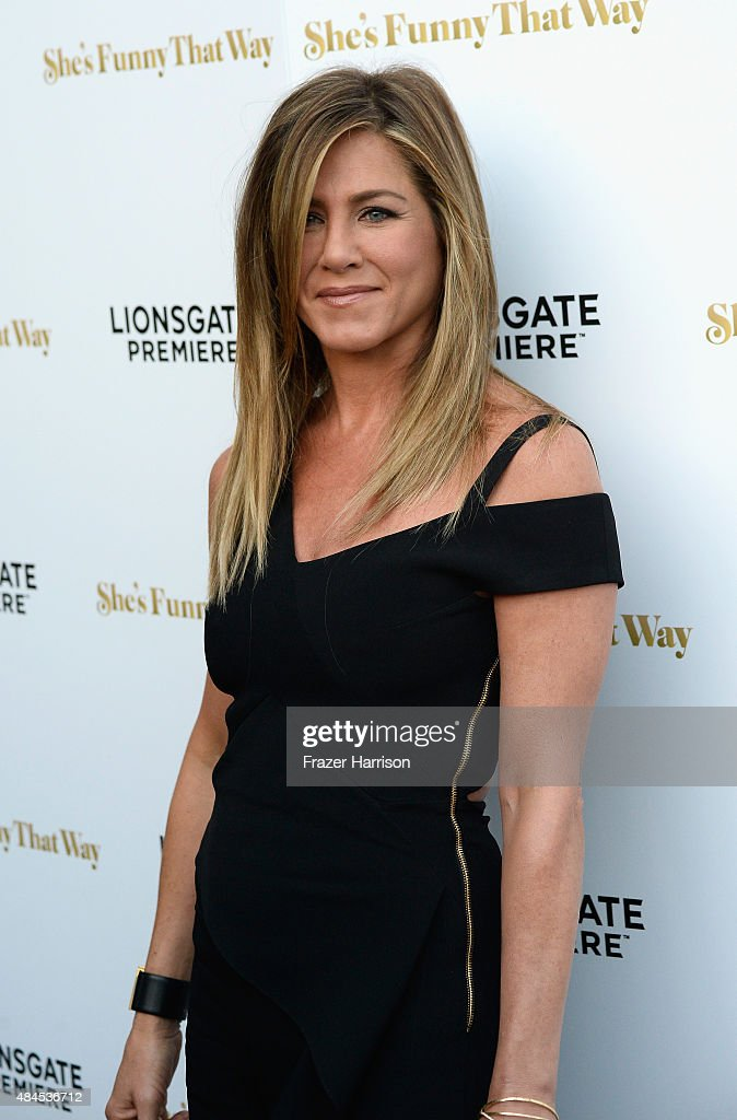 Actress <a gi-track='captionPersonalityLinkClicked' href=/galleries/search?phrase=Jennifer+Aniston&family=editorial&specificpeople=202048 ng-click='$event.stopPropagation()'>Jennifer Aniston</a> arrives at the Premiere Of Lionsgate Premiere's 'She's Funny That Way' at Harmony Gold on August 19, 2015 in Los Angeles, California.