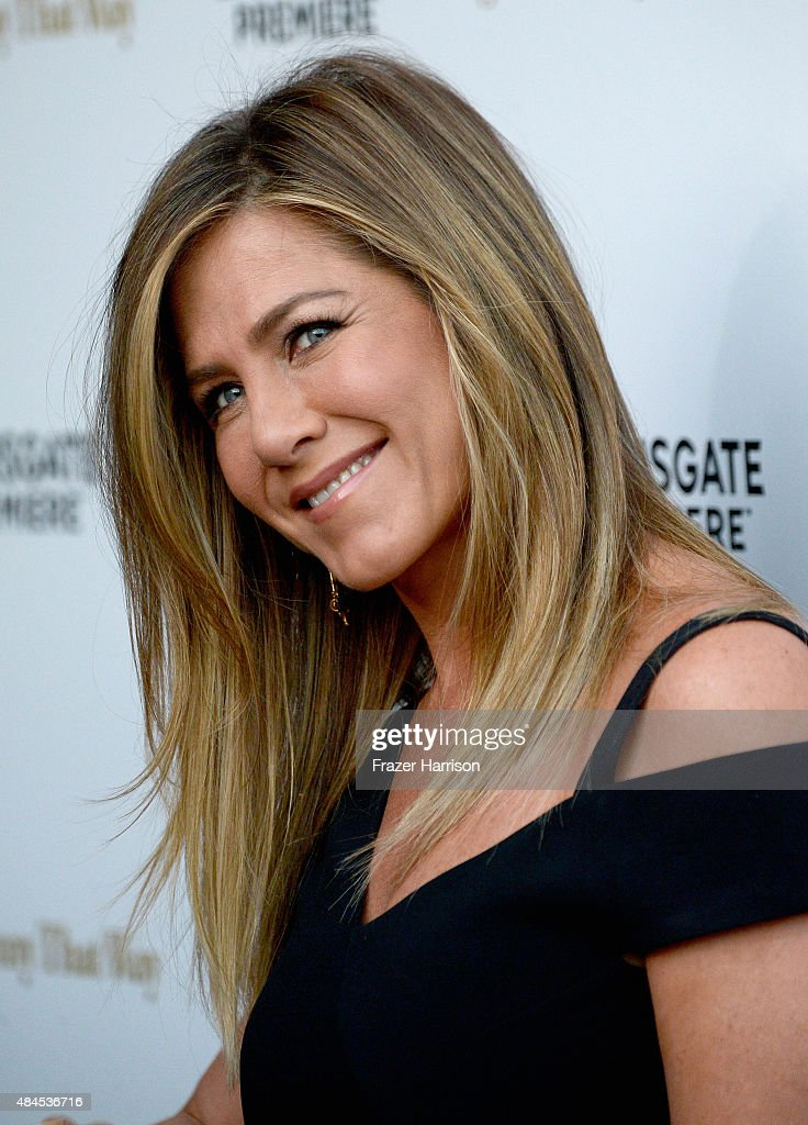 Actress Jennifer Aniston arrives at the Premiere Of Lionsgate Premiere's 'She's Funny That Way' at Harmony Gold on August 19, 2015 in Los Angeles, California.
