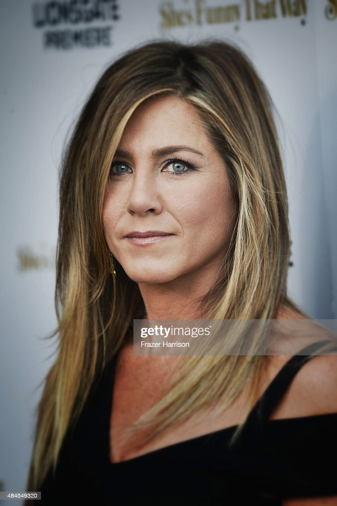. Actress <a gi-track='captionPersonalityLinkClicked' href=/galleries/search?phrase=Jennifer+Aniston&family=editorial&specificpeople=202048 ng-click='$event.stopPropagation()'>Jennifer Aniston</a> arrives at the Premiere Of Lionsgate Premiere's 'She's Funny That Way' at Harmony Gold on August 19, 2015 in Los Angeles, California.