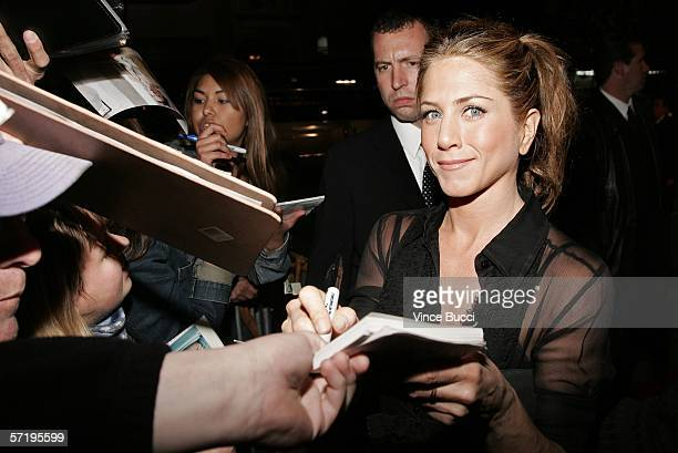 Actress Jennifer Aniston arrives at the Sony Pictures Classics premiere of the film 'Friends with Money' held at The Egyptian Theatre on March 27...