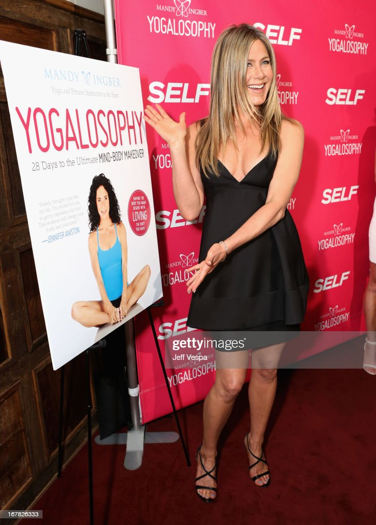 Actress <a gi-track='captionPersonalityLinkClicked' href=/galleries/search?phrase=Jennifer+Aniston&family=editorial&specificpeople=202048 ng-click='$event.stopPropagation()'>Jennifer Aniston</a> attends SELF Magazine and <a gi-track='captionPersonalityLinkClicked' href=/galleries/search?phrase=Jennifer+Aniston&family=editorial&specificpeople=202048 ng-click='$event.stopPropagation()'>Jennifer Aniston</a>'s celebration of Mandy Ingber's new book 'Yogalosophy: 28 Days to the Ultimate Mind-Body Makeover' (Seal Press) on April 30, 2013 in Los Angeles, California.