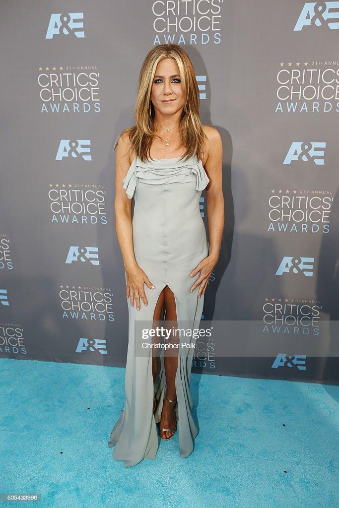 Actress Jennifer Aniston attends the 21st Annual Critics' Choice Awards at Barker Hangar on January 17 2016 in Santa Monica California