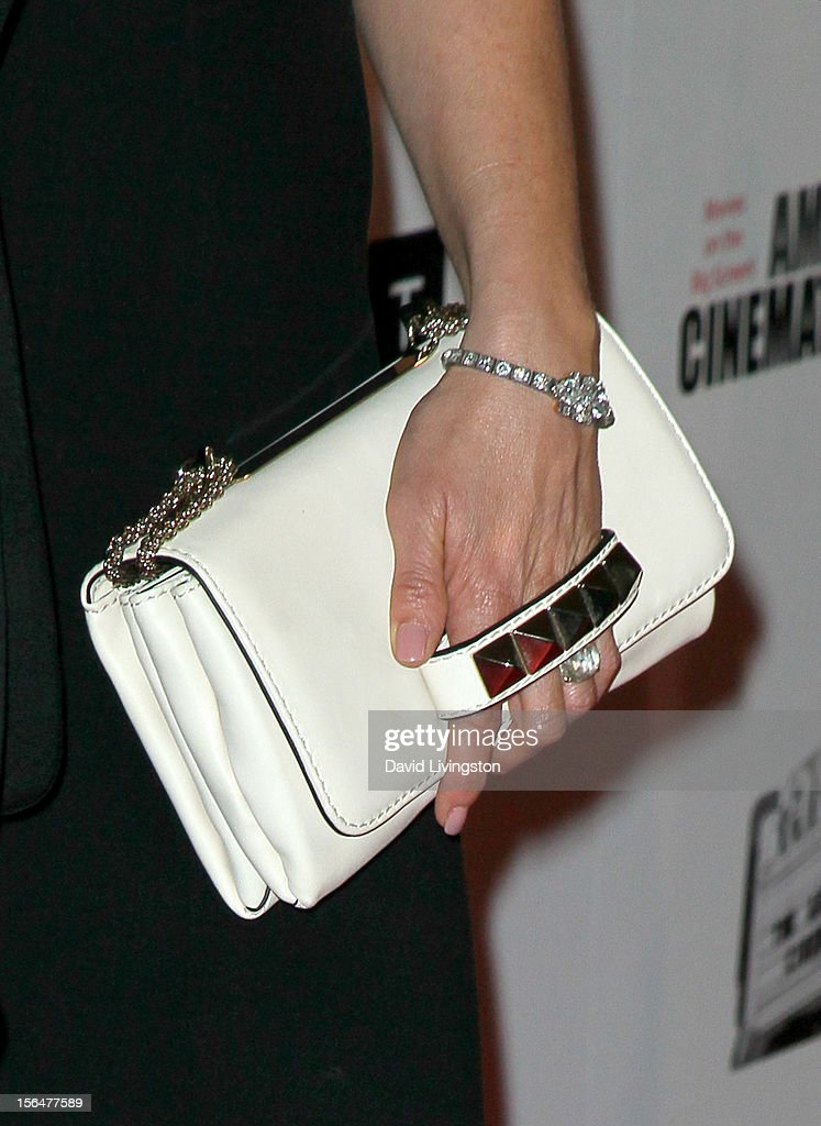 Actress Jennifer Aniston (handbag detail) attends the 26th American Cinematheque Award Gala honoring Ben Stiller at The Beverly Hilton Hotel on November 15, 2012 in Beverly Hills, California.