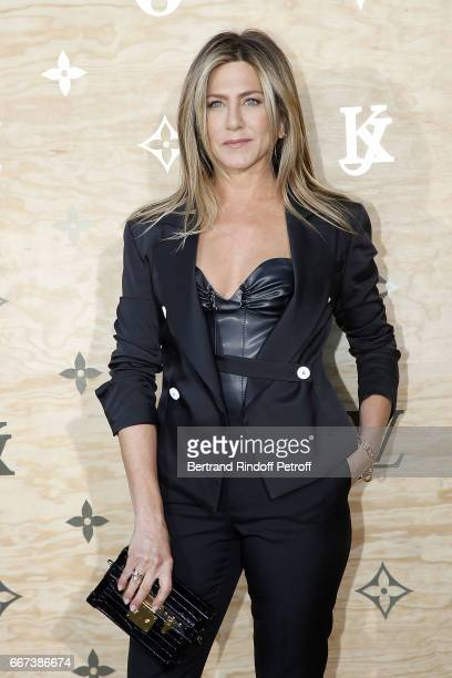 Actress Jennifer Aniston attends the 'LVxKOONS' exhibition at Musee du Louvre on April 11 2017 in Paris France