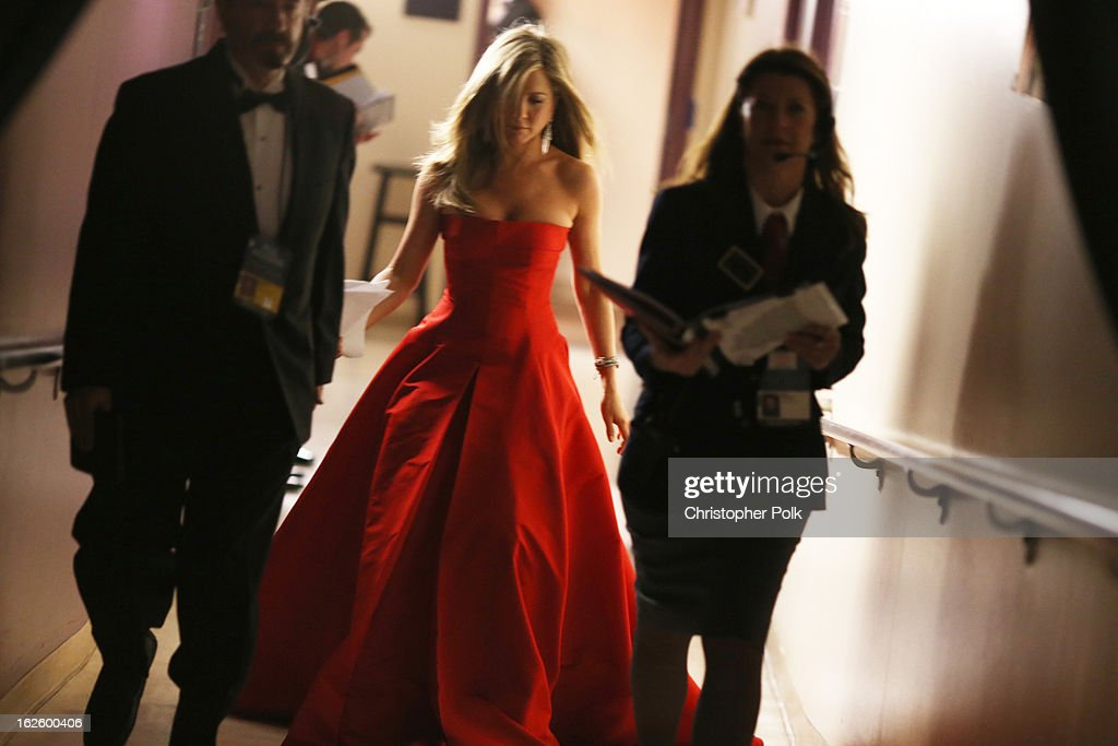 Actress Jennifer Aniston backstage during the Oscars held at the Dolby Theatre on February 24, 2013 in Hollywood, California.