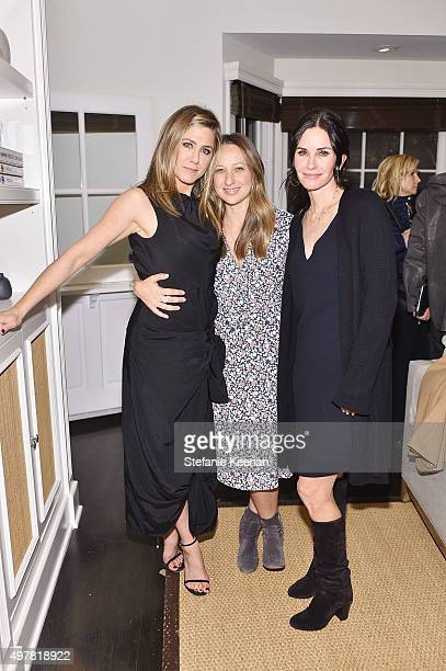 Actress Jennifer Aniston designer Jennifer Meyer and actress Courteney Cox attend Barneys New York Jennifer Aniston and Tobey Maguire host a private...