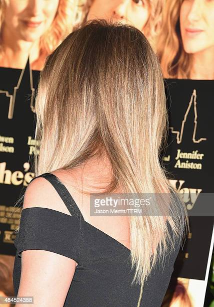 Actress Jennifer Aniston hair detail attends the premiere of Lionsgate premiere's 'She's Funny That Way' at Harmony Gold on August 19 2015 in Los...
