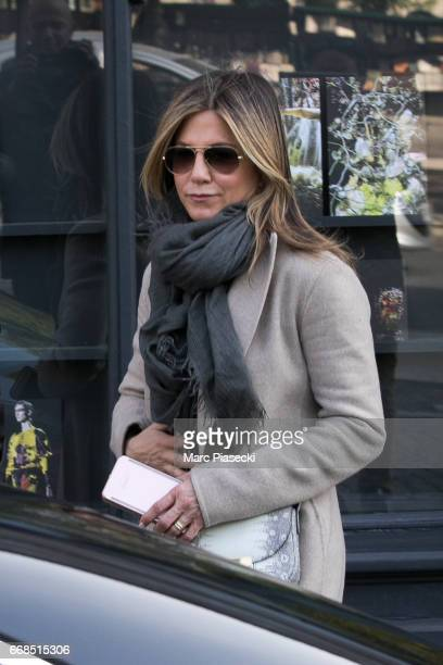 Actress Jennifer Aniston is seen leaving the 'Dries Van Noten' store on April 14 2017 in Paris France