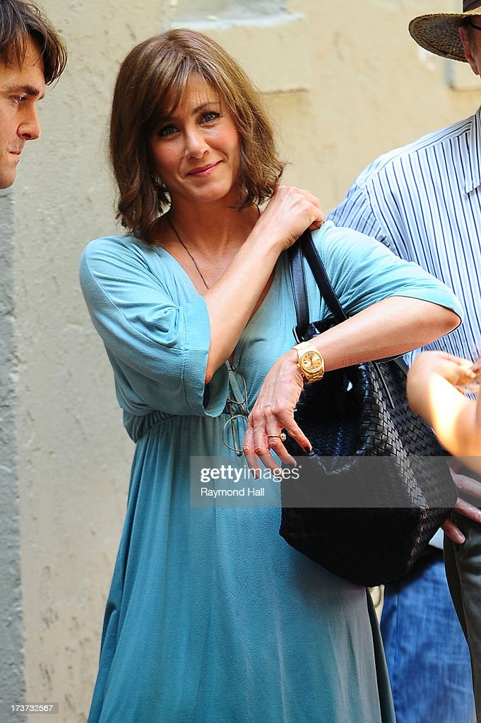 Actress Jennifer Aniston is seen on the set of 'Squirrels to the Nuts'on July 17, 2013 in New York City.