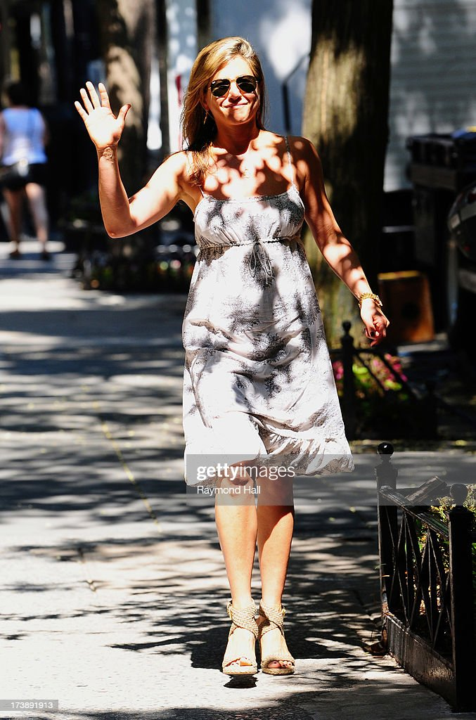 Actress Jennifer Aniston is seen on the set of 'Squirrels to the Nuts'on July 18, 2013 in New York City.