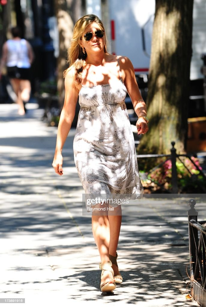 Actress <a gi-track='captionPersonalityLinkClicked' href=/galleries/search?phrase=Jennifer+Aniston&family=editorial&specificpeople=202048 ng-click='$event.stopPropagation()'>Jennifer Aniston</a> is seen on the set of 'Squirrels to the Nuts'on July 18, 2013 in New York City.