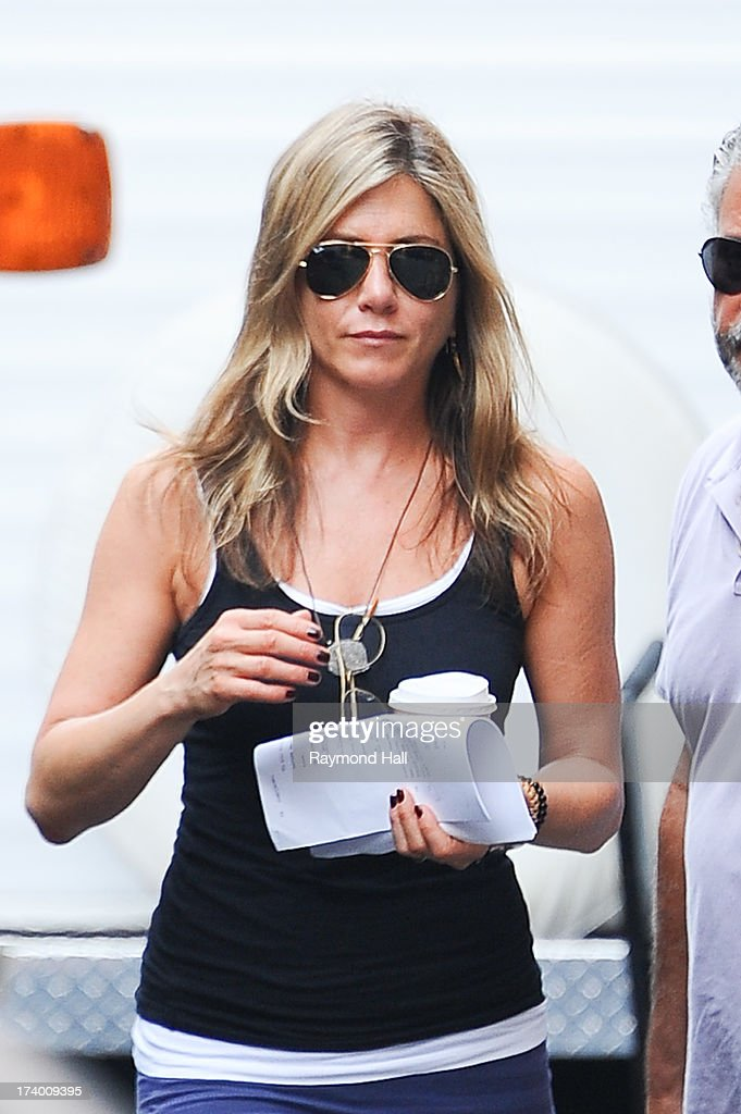 Actress Jennifer Aniston is seen on the set of 'Squirrels to the Nuts'on July 19, 2013 in New York City.