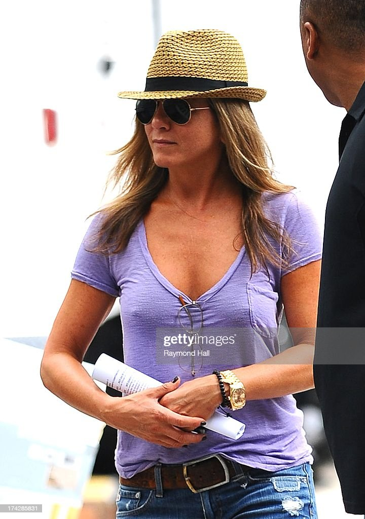 Actress <a gi-track='captionPersonalityLinkClicked' href=/galleries/search?phrase=Jennifer+Aniston&family=editorial&specificpeople=202048 ng-click='$event.stopPropagation()'>Jennifer Aniston</a> is seen on the set of 'Squirrels to the Nuts'on July 23, 2013 in New York City.