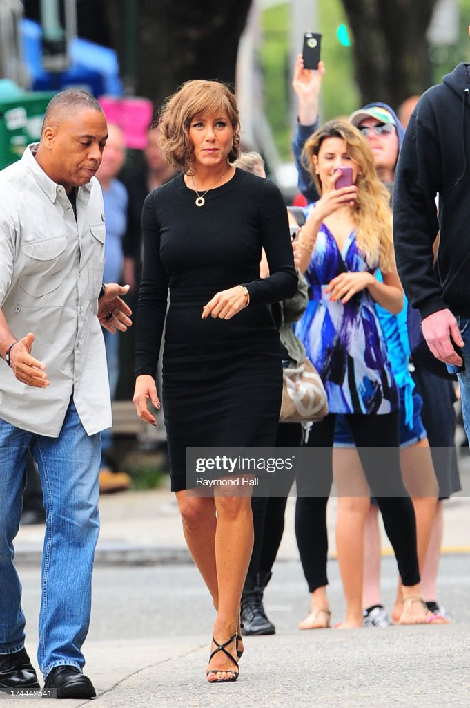 Actress <a gi-track='captionPersonalityLinkClicked' href=/galleries/search?phrase=Jennifer+Aniston&family=editorial&specificpeople=202048 ng-click='$event.stopPropagation()'>Jennifer Aniston</a> is seen on the set of 'Squirrels to the Nuts'on July 25, 2013 in New York City.