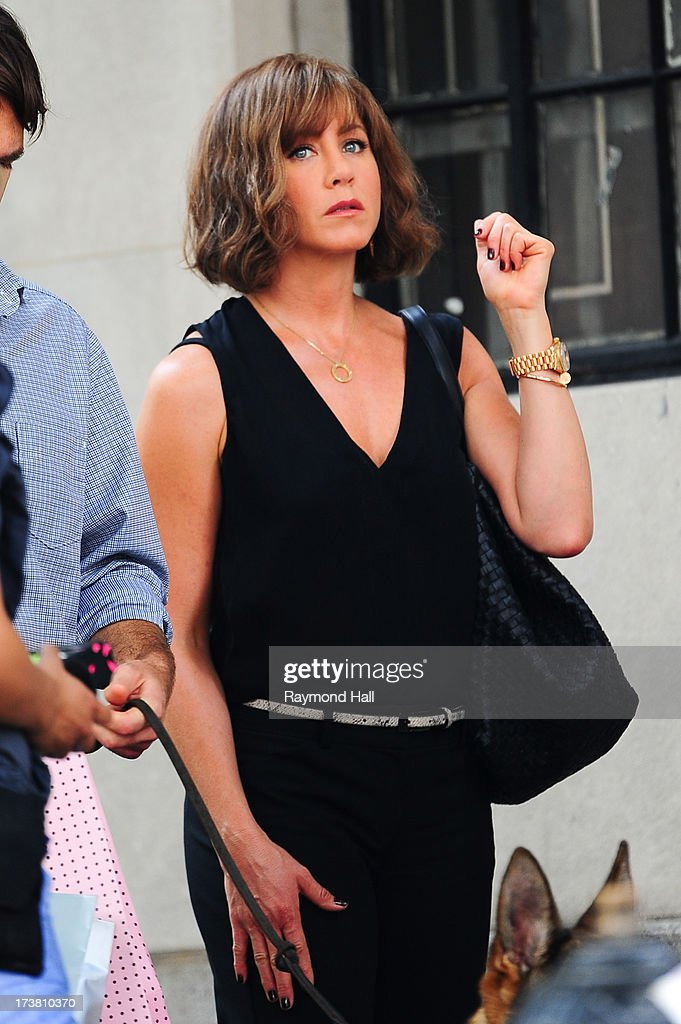 Actress <a gi-track='captionPersonalityLinkClicked' href=/galleries/search?phrase=Jennifer+Aniston&family=editorial&specificpeople=202048 ng-click='$event.stopPropagation()'>Jennifer Aniston</a> is seen on the set of 'Squirrels to the Nuts' on July 17, 2013 in New York City.