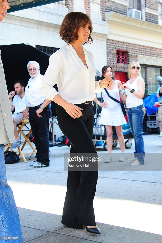 Actress Jennifer Aniston is seen on the set of 'Squirrels to the Nuts' on July 18, 2013 in New York City.