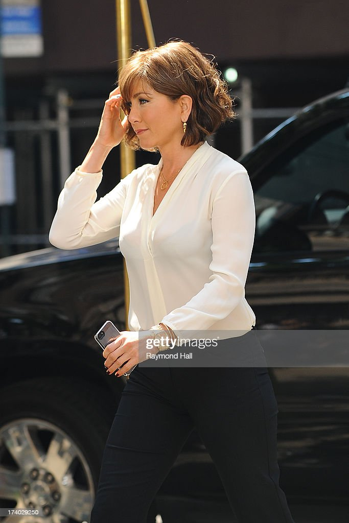 Actress <a gi-track='captionPersonalityLinkClicked' href=/galleries/search?phrase=Jennifer+Aniston&family=editorial&specificpeople=202048 ng-click='$event.stopPropagation()'>Jennifer Aniston</a> is seen on the set of 'Squirrels to the Nuts' in NYCon July 19, 2013 in New York City.