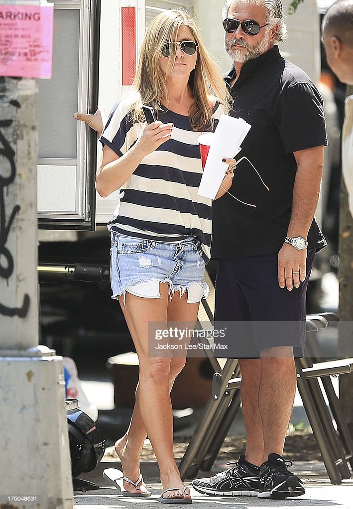 Actress <a gi-track='captionPersonalityLinkClicked' href=/galleries/search?phrase=Jennifer+Aniston&family=editorial&specificpeople=202048 ng-click='$event.stopPropagation()'>Jennifer Aniston</a> is seen on the set of 'Squirrels to the Nuts' on July 29, 2013 in New York City.