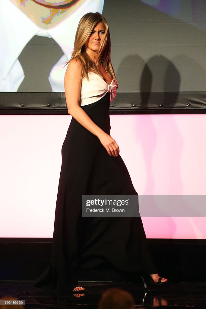 Actress Jennifer Aniston onstage during the 26th American Cinematheque Award Gala honoring Ben Stiller at The Beverly Hilton Hotel on November 15, 2012 in Beverly Hills, California.