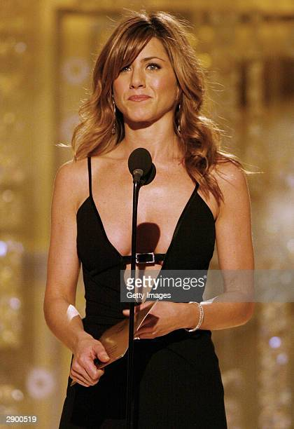 Actress Jennifer Aniston presenting on stage at the 61st Annual Golden Globe Awards at the Beverly Hilton Hotel on January 25 2004 in Beverly Hills...