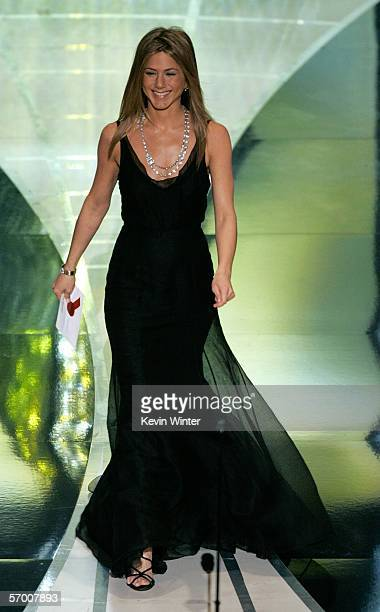 Actress Jennifer Aniston presents during the Achievement in Costume Design award at the 78th Annual Academy Awards at the Kodak Theatre on March 5...