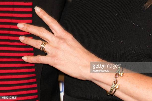 Actress Jennifer Aniston ring detail attends the 'Series Mania Festival' opening night at Le Grand Rex on April 13 2017 in Paris France