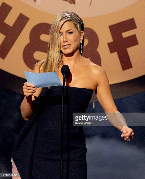 Actress Jennifer Aniston speaks onstage during Spike TV's Guys Choice 2013 at Sony Pictures Studios on June 8 2013 in Culver City California