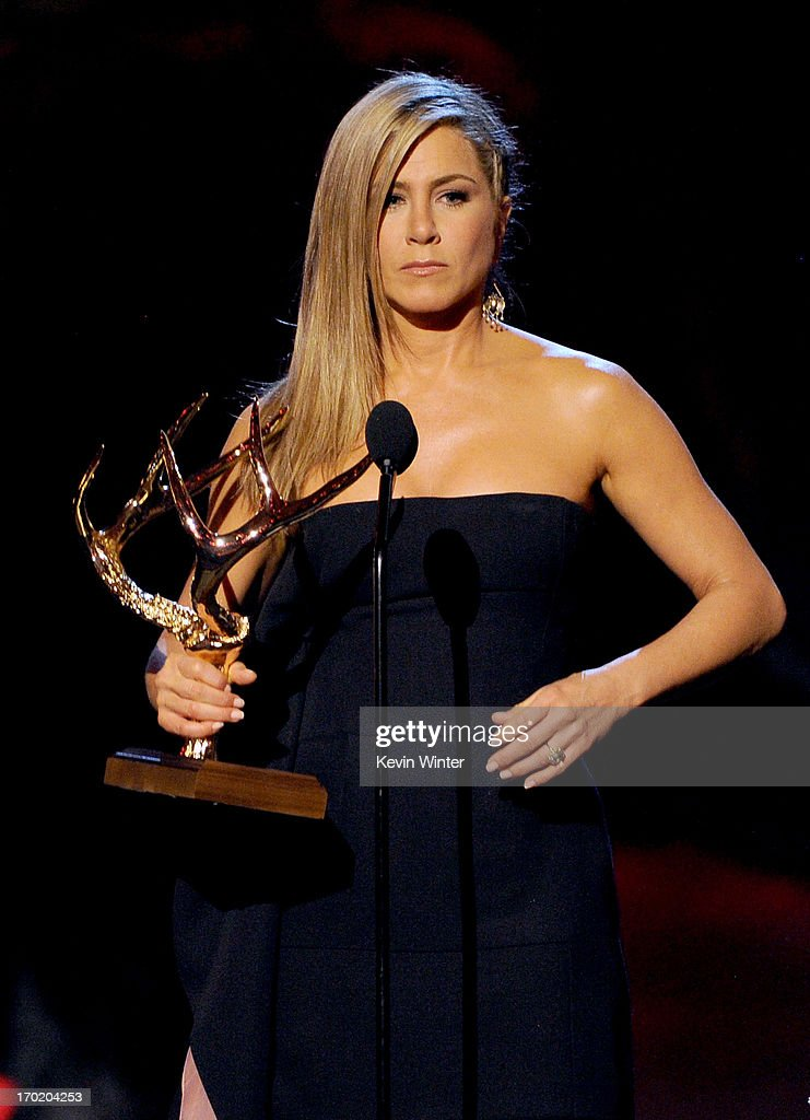 Actress Jennifer Aniston speaks onstage during Spike TV's Guys Choice 2013 at Sony Pictures Studios on June 8, 2013 in Culver City, California.