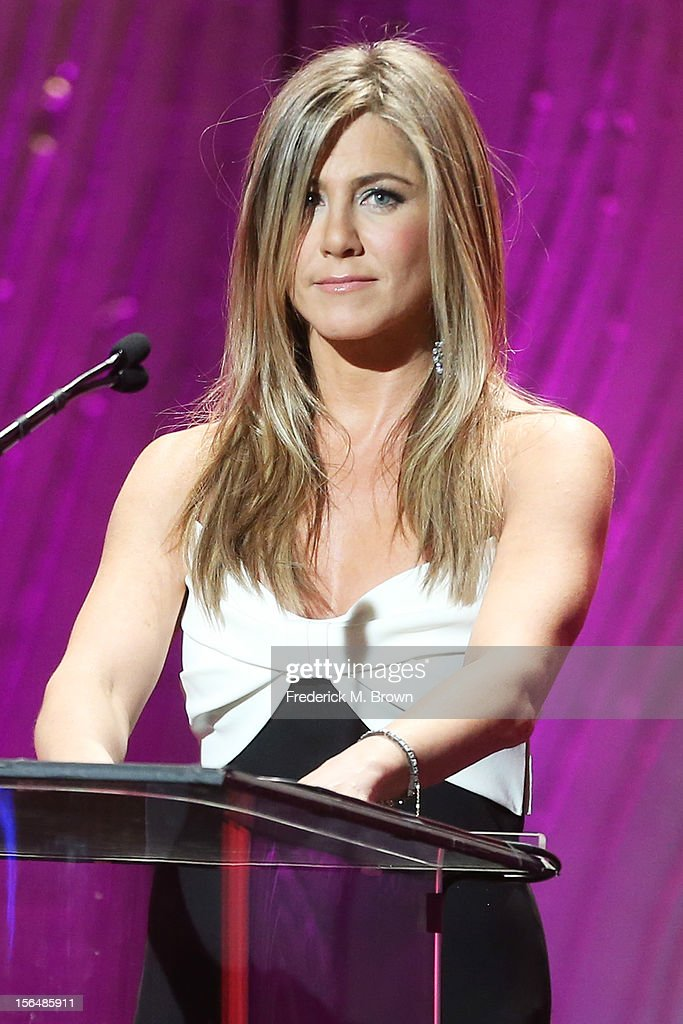 Actress <a gi-track='captionPersonalityLinkClicked' href=/galleries/search?phrase=Jennifer+Aniston&family=editorial&specificpeople=202048 ng-click='$event.stopPropagation()'>Jennifer Aniston</a> speaks onstage during the 26th American Cinematheque Award Gala honoring Ben Stiller at The Beverly Hilton Hotel on November 15, 2012 in Beverly Hills, California.
