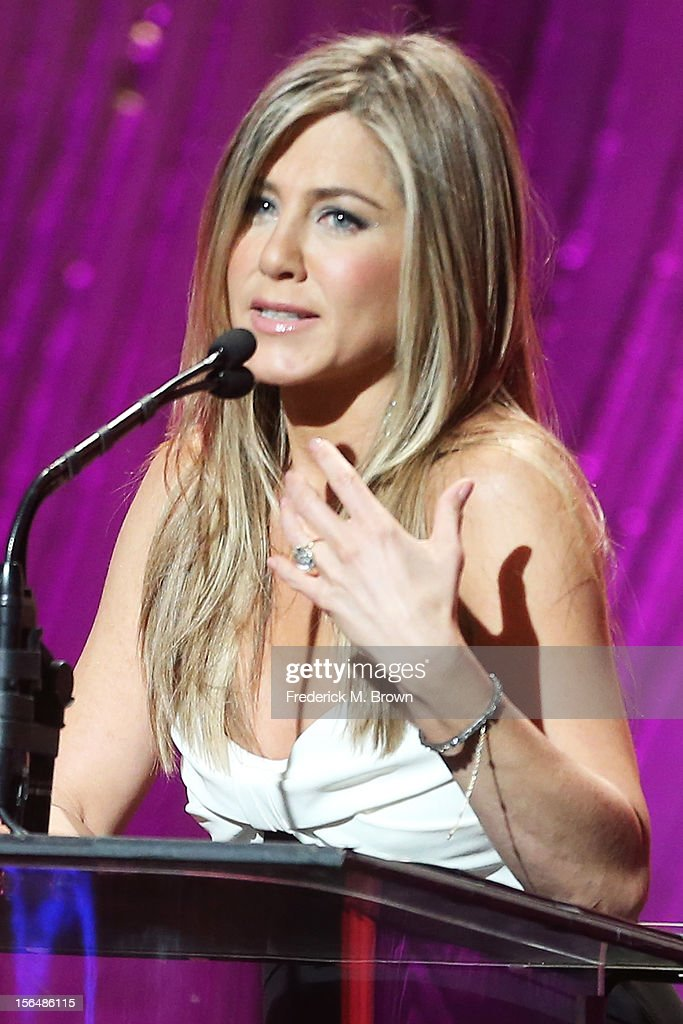 Actress Jennifer Aniston speaks onstage during the 26th American Cinematheque Award Gala honoring Ben Stiller at The Beverly Hilton Hotel on November 15, 2012 in Beverly Hills, California.