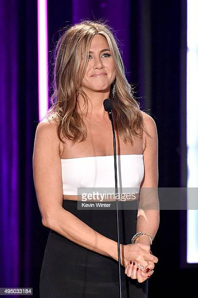 Actress Jennifer Aniston speaks onstage during the 29th American Cinematheque Award honoring Reese Witherspoon at the Hyatt Regency Century Plaza on...