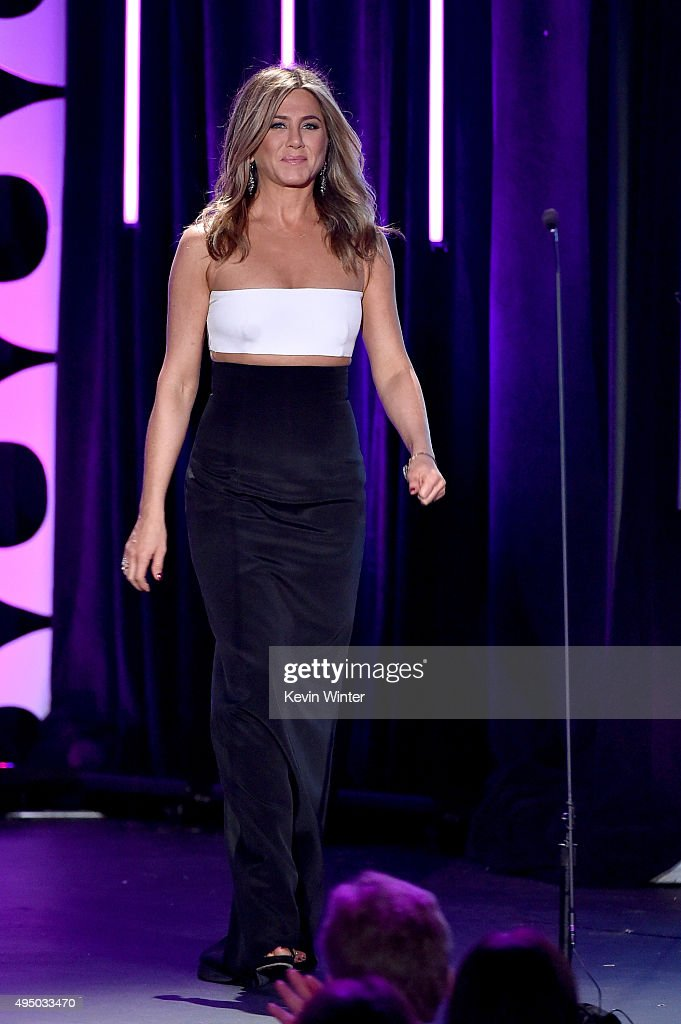 Actress Jennifer Aniston walks onstage during the 29th American Cinematheque Award honoring Reese Witherspoon at the Hyatt Regency Century Plaza on October 30, 2015 in Los Angeles, California.