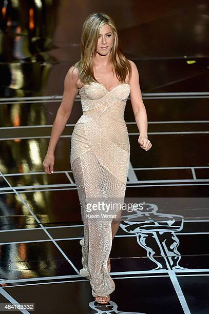 Actress Jennifer Aniston walks onstage during the 87th Annual Academy Awards at Dolby Theatre on February 22 2015 in Hollywood California