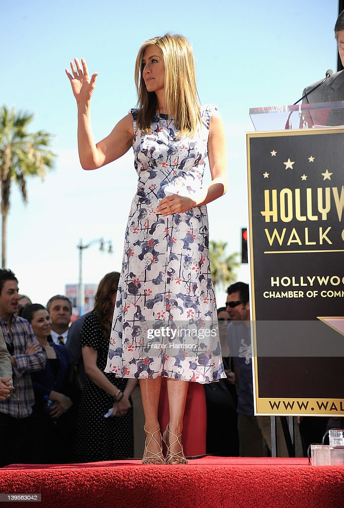 Actress Jennifer Aniston who was honored with a star on the Hollywood Walk Of Fame on February 22, 2012 in Hollywood, California.