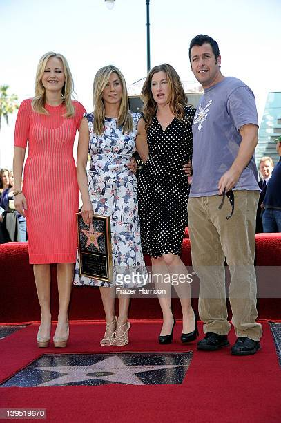 Actress Jennifer Aniston who was honored with a star the the Hollywood Walk Of Fame poses with Actress Malin Akerman Kathryn Hahn Adam Sandler on...