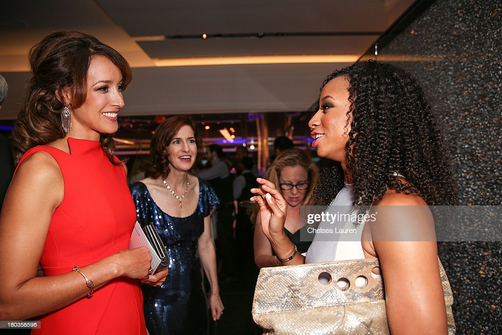 Actress <a gi-track='captionPersonalityLinkClicked' href=/galleries/search?phrase=Jennifer+Beals&family=editorial&specificpeople=209248 ng-click='$event.stopPropagation()'>Jennifer Beals</a>, honoree Jessica Greer Morris and actress <a gi-track='captionPersonalityLinkClicked' href=/galleries/search?phrase=Monique+Coleman&family=editorial&specificpeople=614618 ng-click='$event.stopPropagation()'>Monique Coleman</a> speak at the 6th annual SELF Magazine's Women Doing Good Awards at Apella on September 11, 2013 in New York City.