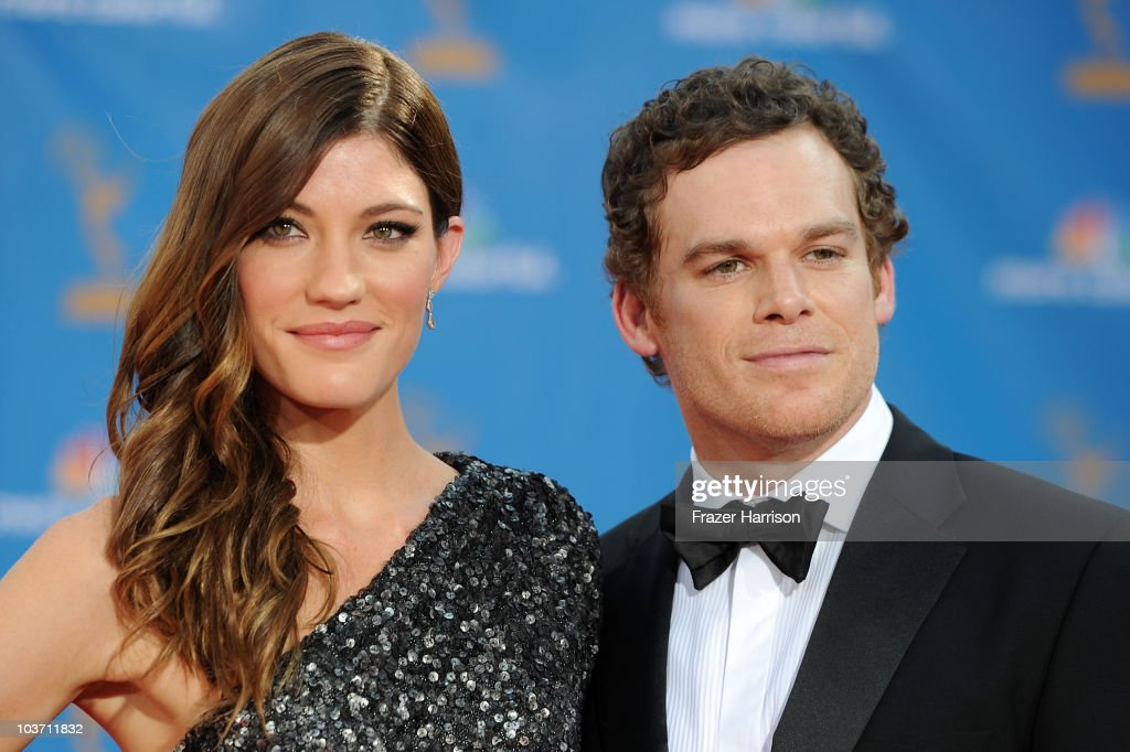 Actress Jennifer Carpenter and actor Michael C Hall arrive at the 62nd Annual Primetime Emmy Awards held at the Nokia Theatre LA Live on August 29...
