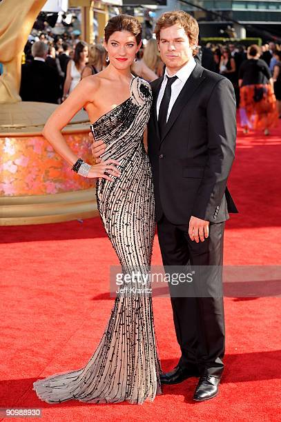 Actress Jennifer Carpenter and Actor Michael C Hall arrive at the 61st Primetime Emmy Awards held at the Nokia Theatre on September 20 2009 in Los...