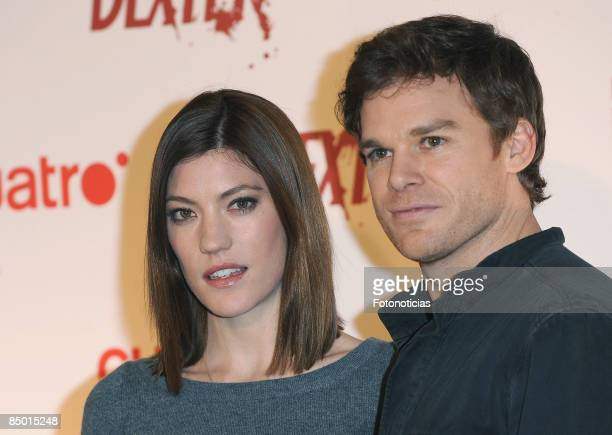 Actress Jennifer Carpenter and actor Michael C Hall attend a photocall for 'Dexter' new season at the Palace Hotel on February 24 2009 in Madrid Spain